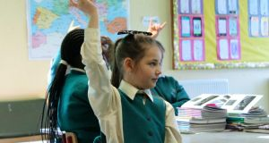 Learning: practising sign language at St Columba's Girls' National School