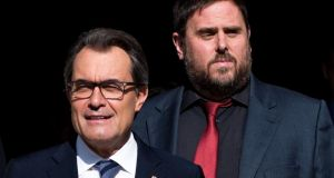 President of Catalonia Artur Mas (left) with leader of the Pro-Independence political party Esquerra Republicana de Catalunya Oriol Junqueras, leaving the Catalan government building in Barcelona, Spain, this week. Photograph: David Ramos/Getty Images