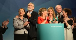 Gerry Adams TD with from left Mary Lou McDonald TD, MEPs Liadh Ní Riada, Martina Anderson and Lynne Boylan, and  Martin McGuinness. Photograph: Dara Mac Dónaill