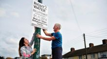 Hazel Norton and George Heinz from Ballyfermot, Dublin, prepare for today's anti-water charge protests today. Photograph: Aidan Crawley