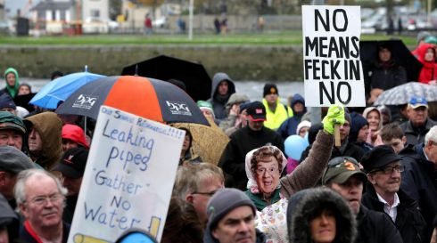 Mrs Browne at the water charges protest in Galway city. Photograph: Joe O'Shaughnessy