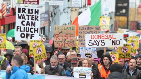 About 5,000 people attended the Right2Water protest in Letterkenny, Co Donegal.  Photograph: North West Newspix