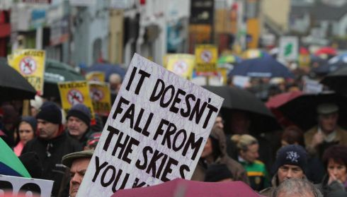 Protesters at the Right2Water protest march in Letterkenny, Co Donegal.  Photograph: North West Newspix