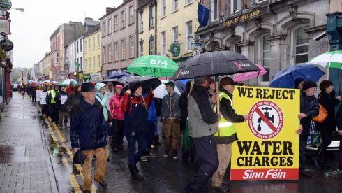 About 500 people turned out for the anti-water charge protest at Bandon, Co. Cork. Photograph: Provision