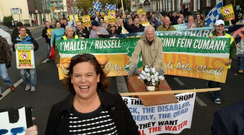 Sinn Fein TD Mary Lou Mc Donald leading the march from the  Five Lamps pictured  on Saturday as  thousands flocked to the city to demonstrate against the water charges.  Photograph: Cyril Byrne / THE IRISH TIMES