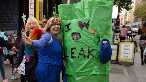 Rona Pears and Brenda Murtagh from Leixlip  as a Leak pictured  on Saturday as  thousands flocked to the city to demonstrate against the water charges. Photograph: Cyril Byrne / THE IRISH TIMES