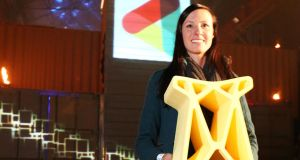 "Samantha Snabes, Co-Founder of re:3D with ""Gigastool"" made by 3D printer Gigabot, the largest affordable 3D printer."
