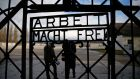 "The main gate of the former Dachau concentration camp with the sign ""Arbeit macht frei"" (work sets you free) has been slolen from Dachau, near Munich. Photograph: Michael Dalder /Files/Retuers"