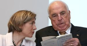Former German chancellor Helmut Kohl and his wife Maike Richter-Kohl at the presentation of his new book Aus Sorge Um Europa (Out of Concern For Europe)  in Frankfurt. Photograph: Hannelore Foerster/Getty Images