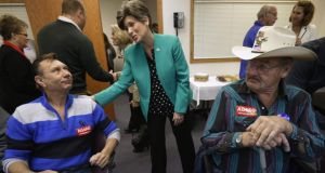 Republican candidate Joni Ernst on the campaign trail in Newton, Iowa. Her campaign ad about growing up on a pig farm clicked with voters. Photograph: Chip Somodevilla/Getty Images