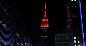 The Empire State Building in New York last night lit up in red for the US Republican party which has taken  control of the US Senate from the US Democrats party. Photograph: Jason Szenes/EPA