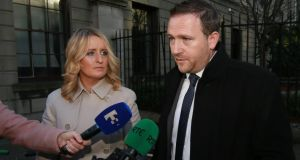 Roisin and Mark Molloy from Castlebrack, Killeigh, Co. Offaly pictured speaking to the media outside the Four Courts on Wednesday after a settlement in their High Court action for damages. Photograph: Collins Courts