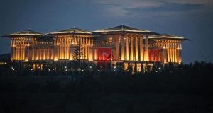 Turkey's controversial presidential residence outside Ankara boasts nearly 1,000 rooms and is one of many potent symbols for critics of President Recep Tayyip Erdogan. Photograph: The New York Times