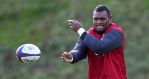 Semesa Rokoduguni passes the ball during an  England training session earlier this week. Photograph: David Rogers/Getty Images