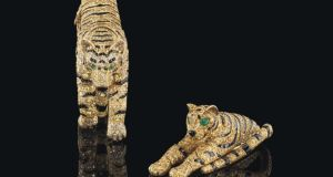 The two famous pieces of Cartier tiger jewellery are now being sold by soprano Sarah Brightman.