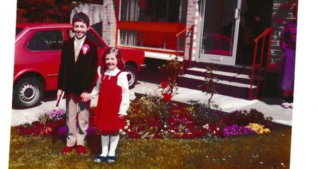 John Boyne  on the day of his confirmation with his younger sister.