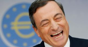 European Central Bank president Mario Draghi during a news conference in Frankfurt yesterday. Mr Draghi  told reporters   the decision to seek aid in 2010 was made by the then government on its own. Photograph: AP
