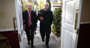An IFA delegation, led by president Eddie Downey and IFA national livestock committee chairman Henry Burns, on their way into talks with the meat factories over beef prices at Citywest in Dublin. Photograph: Finbarr O'Rourke.