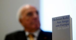 Former German chancellor Helmut Kohl presents his new book Aus Sorge um Europa (Out of Concern for Europe) during a news conference in Frankfurt, earlier this week. Photograph: Reuters/Kai Pfaffenbach