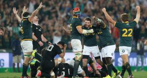 South Africa forced New Zealand to produce a staggering 252 tackles in their recent Rugby Championship match in Johannesburg. Photograph: David Rogers/Getty Image