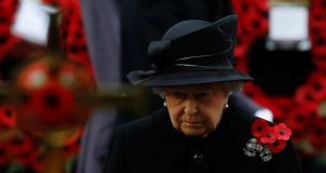 Britain's Queen Elizabeth attends the annual Remembrance Sunday ceremony at the Cenotaph in London. Photograph: Luke MacGregor/Reuters