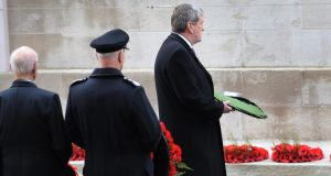 Irish ambassador to London Dan Mulhall lays a wreath at the Cenotaph memorial in Whitehall, central London, during the annual Remembrance Sunday service. Photograph: Stefan Rousseau/PA Wire