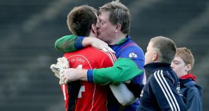 St Brigid's goalkeeper Shane Curran with Cillian O'Connor of Ballintubber. Photograph: ©INPHO/Donall Farmer