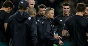 Ireland  coach Joe Schmidt speaks to his players before the game against South Africa.  Photograph: Brian Lawless/PA
