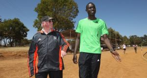 Kenya's David Rudisha, 800m world record holder and Olympic champion, with his coach Br Colm O'Connell. The Mallow man believes it is time for the Kenyan athletics federation to take action. Photograph: Getty Images