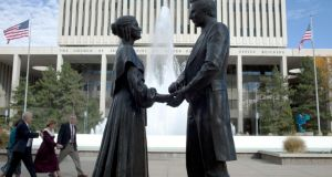 A statue of the Mormon religion's founder and prophet Joseph Smith with his wife Emma  in Salt Lake City. Photograph: Jim McAuley/The New York Times