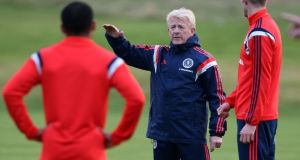 Gordon Strachan, pictured here during a training session near Glasgow this week, has revitalised the Scotland team.  Photograph: Andrew Milligan/PA