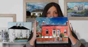 Elena Duff with house portraits from Paint for Me