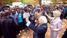 President Michael D Higgins and his wife Sabina at the Lilongwe University of Agriculture and Natural Resources in Malawi.Photograph: Chris Bellew /Photography 2014