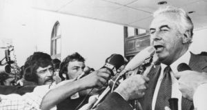 Dismissed: Australian Labor Party prime minister Gough Whitlam after being thrown out of office, in 1975. Photograph: Keystone/Hulton Archive/Getty
