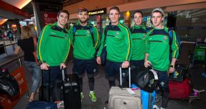 (From left) David Moran, Aiden O'Shea, Colm O'Shea, Colm O'Neill and Niall Morgan arrive in Melbourne for Ireland's International Rules Test series with Australia. Photograph: Cathal Noonan/Inpho
