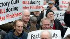 Beef farmers at a protest outside the Department of Agriculture. Photograph: Eric Luke / The Irish Times