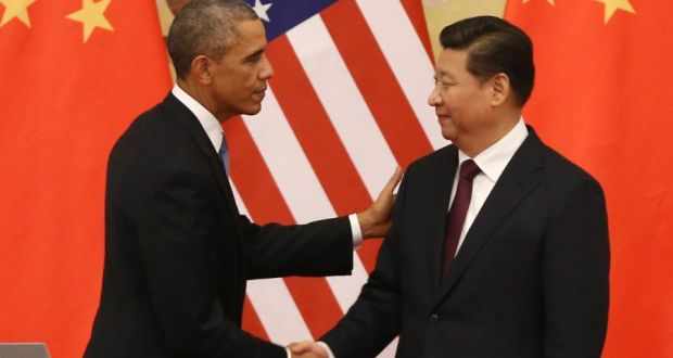 US president Barack Obama and Chinese president Xi Jinping at the Great Hall of the People in Beijing on Wednesday. Photograph: How Hwee Young/EPA