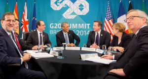 World leaders meeting yesterday at the G20 summit in Brisbane to discuss transatlantic trade and the situation in Ukraine. Pgotograph: AP Photo/Pablo Martinez Monsivais