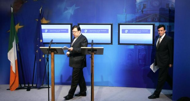 Then taoiseach Brian Cowen and Brian Lenihan, minister for finance, making a statement following the Cabinet meeting regarding the  financial bailout in 2010.  Photographer: Dara Mac Dónaill / THE IRISH TIMES