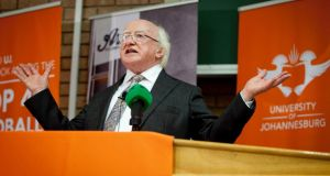 President Michael D Higgins at the University of Johannesburg, Soweto Campus, yesterday, where he delivered the keynote address, Challenges and Opportunites in Africa, on the 16th day of his 22-day official visit to Ethiopia, Malawi and South Africa. Photograph:  Chris Bellew/Fennell