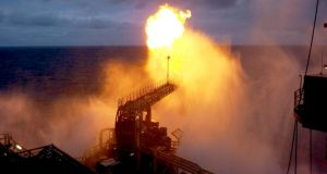 A 40m gas flare from the Ocean Guardian drilling rig during a well production test at the Corrib field, 80kms off Co Mayo. Photograph: Shell E&P Ireland Ltd