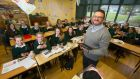 Tech savvy: Fintan O'Mahony with second-year students. Photograph: Patrick Browne