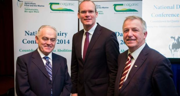 Dom Moran, secretary general of the Department of Agriculture with Minister Simon Coveney and Gerry Boyle, director of Teagasc, at the National Dairy Conference.  Photograph: John T Ohle
