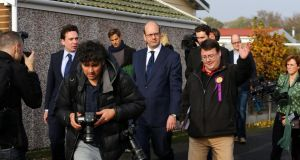 Mark Reckless, UKIP candidate for Rochester and Strood, is surrounded by the media as he visits Hoo Riverside near Rochester on the final day of campaigning.