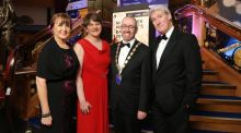 At the NI Chamber of Commerce and Industry president's banquet were Ann McGregor, chief executive of NI Chamber; Enterprise Minister Arlene Foster; Kevin Kingston, president and broadcaster Jeremy Paxman. Photograph: Kelvin Boyes/Press Eye.