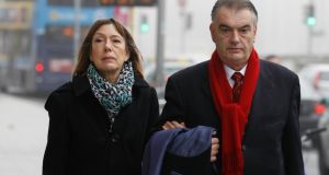 Ian Bailey arriving at the Four Courts yesterday with his partner, Jules Thomas, for the third week of his High Court action for damages. Photograph: Collins Courts
