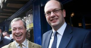 Ukip party leader Nigel Farage (left)  with Mark Reckless,  former Conservative Party MP for Rochester and Strood who won the consituency seat back for Ukip. Photograph: Suzanne Plunkett/Reuters