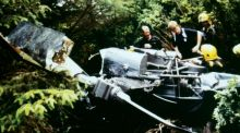 Escape: Michael Gibbons was the only survivor when the helicopter he was in hit trees in thick fog