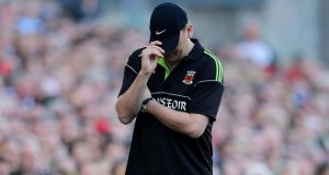 A dejected looking Mayo manager Liam Horan during the final minutes of the 2013 All-Ireland final at Croke Park. Horan's side lost to Dublin by 2-12 to 1-14.  photograph: Cathal Noonan/Inpho.