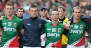 Mayo players, with Liam Horan and his backroom staff in the background, before the All-Ireland football final in 2012, which they lost to Donegal by 2-11 to 0-13. Photograph: Morgan Treacy/Inpho.